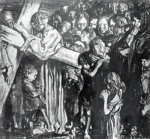 Artist Frank Brangwyn: Jesus Speaks to the Daughters of Jerusalem – Eighth Station, circa 1935